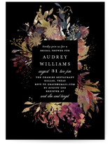 This is a black bridal shower invitation by Lori Wemple called Fantasy with foil-pressed printing on signature in standard.
