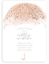This is a pink bridal shower invitation by Phrosne Ras called Sparkling Umbrella with foil-pressed printing on signature in standard.