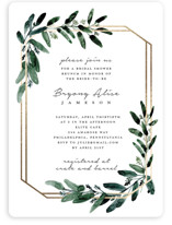 This is a white bridal shower invitation by Lissabeth Anglin called Gilded Eucalyptus with foil-pressed printing on signature in standard.