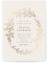 This is a beige bridal shower invitation by Carolyn Nicks called entwined branches with foil-pressed printing on signature in standard.
