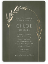This is a green bridal shower invitation by Kelly Schmidt called Botanical Arches with foil-pressed printing on signature in standard.