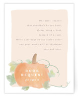 This is a beige baby shower insert card by Creo Study called Lil Pumpkin with standard printing on signature in standard.