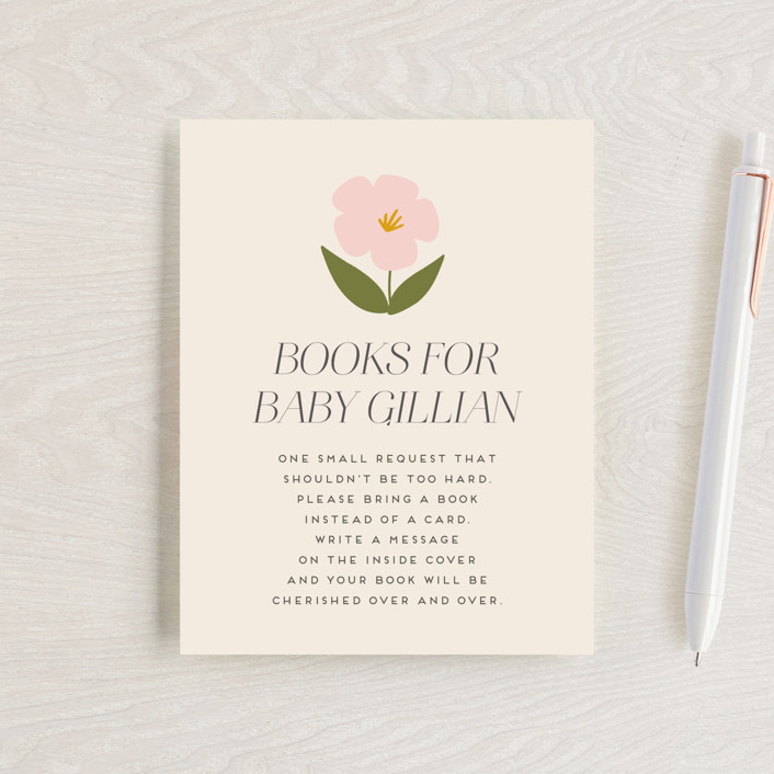 """""""Blossoms Abound"""" - Baby Shower Insert Cards in Chartreuse by Genna Blackburn."""