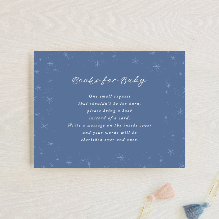 """Moon and Back Cloudy Sky"" - Whimsical & Funny Baby Shower Insert Cards in Caribbean by Alethea and Ruth."