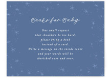 This is a blue baby shower insert card by Alethea and Ruth called Moon and Back Cloudy Sky with standard printing on signature in standard.