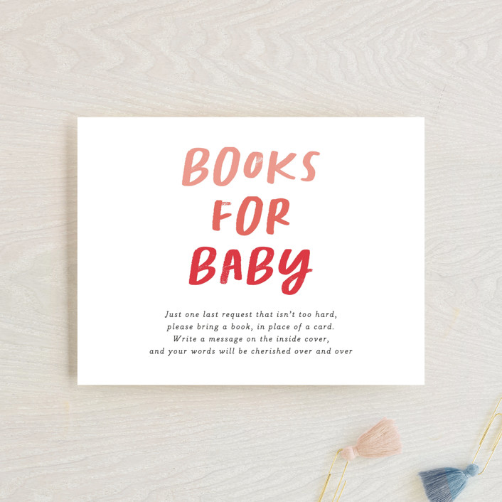 """""""Baby Basics"""" - Funny Baby Shower Insert Cards in Coral by Erica Krystek."""