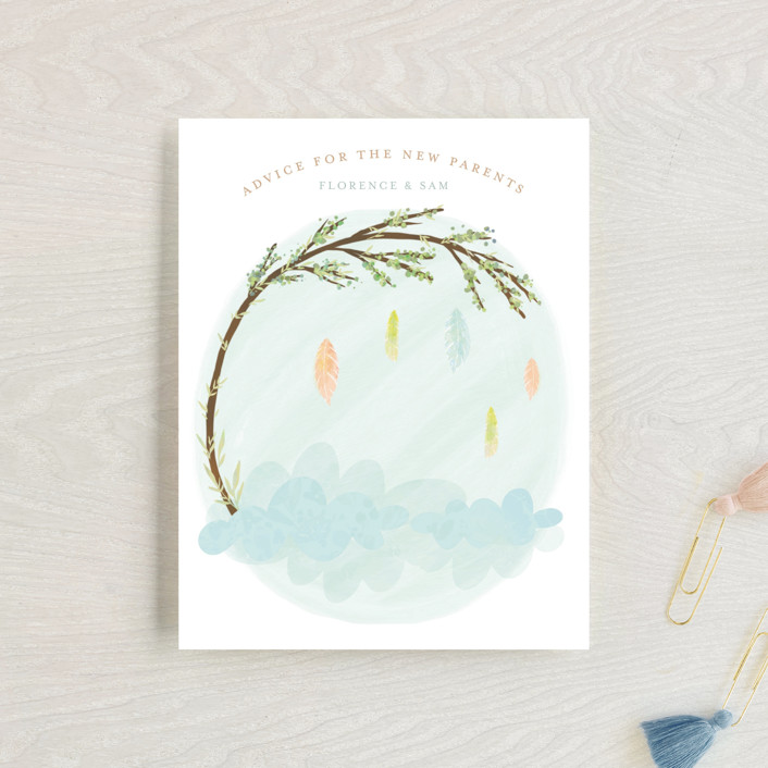 """""""Whimsical Mobile"""" - Baby Shower Insert Cards in Wood by Grace Kreinbrink."""