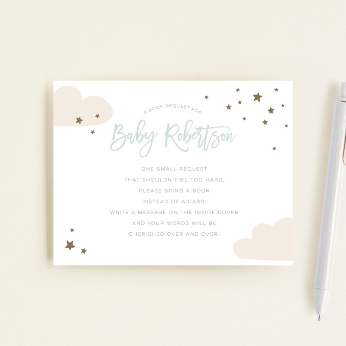 """baby balloon ride"" - Whimsical & Funny Baby Shower Insert Cards in Seafoam by peetie design."