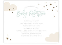 This is a green baby shower insert card by peetie design called baby balloon ride with standard printing on signature in standard.