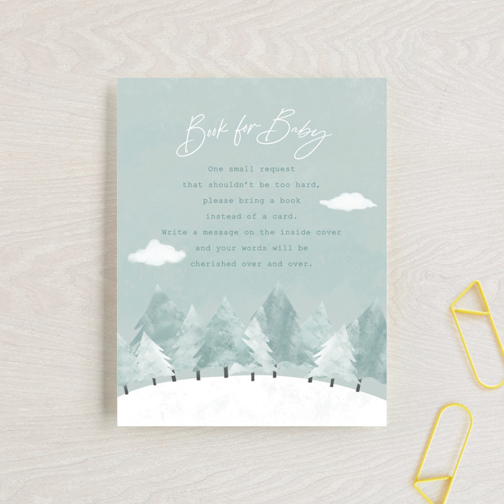 """""""Calm Winter"""" - Rustic Baby Shower Insert Cards in Frost by Adelyn T.."""