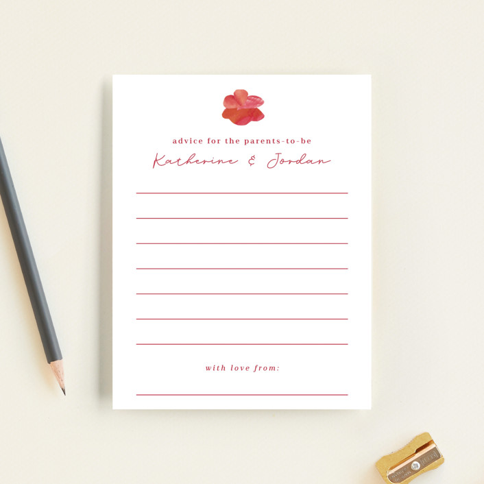 """""""Pretty Petals"""" - Baby Shower Insert Cards in Poppy by Olivia Raufman."""