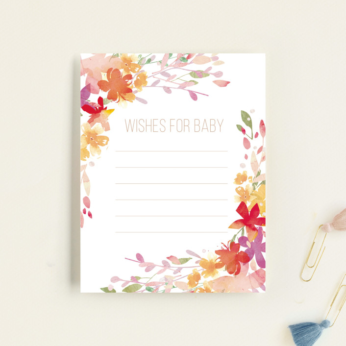 """""""Botanical Sip n See"""" - Whimsical & Funny Baby Shower Insert Cards in Vibrant by Itsy Belle Studio."""