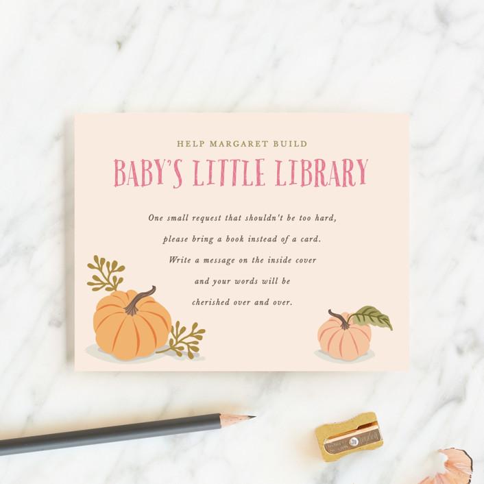 """Autumn Pumpkin"" - Baby Shower Insert Cards in Peach by Karidy Walker."