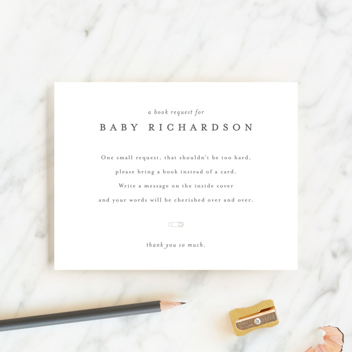 """""""Classic Book Request"""" - Baby Shower Insert Cards in Baby Powder by Minted."""
