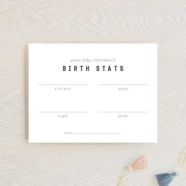 """Modern Baby Predictions"" - Baby Shower Insert Cards in Baby Powder by Minted."