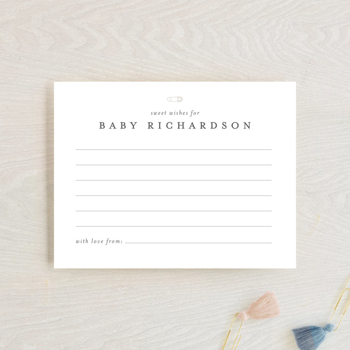 """""""Classic Wishes for Baby"""" - Baby Shower Insert Cards in Baby Powder by Minted."""