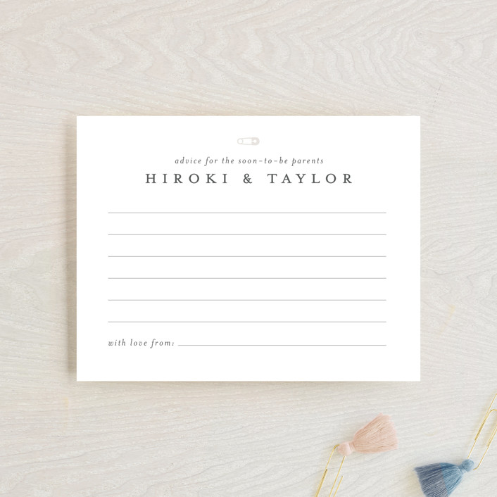 """Classic Advice for Parents"" - Baby Shower Insert Cards in Baby Powder by Minted."