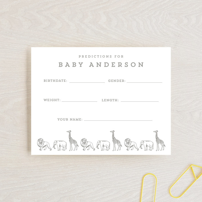 """""""Animal Parade"""" - Whimsical & Funny Baby Shower Insert Cards in Stone by Waldo Press."""
