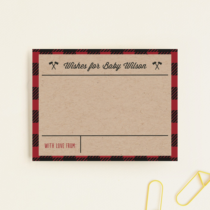"""""""Little Man"""" - Rustic Baby Shower Insert Cards in Chili Pepper by Amy Payne."""