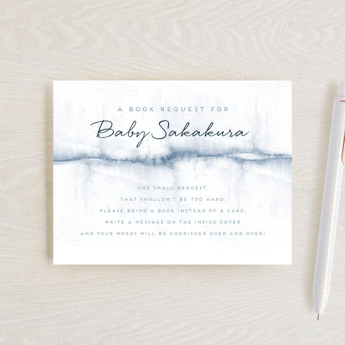 """""""Watercolored Holiday Magic"""" - Baby Shower Insert Cards in Steel by Maria Hilas Louie."""