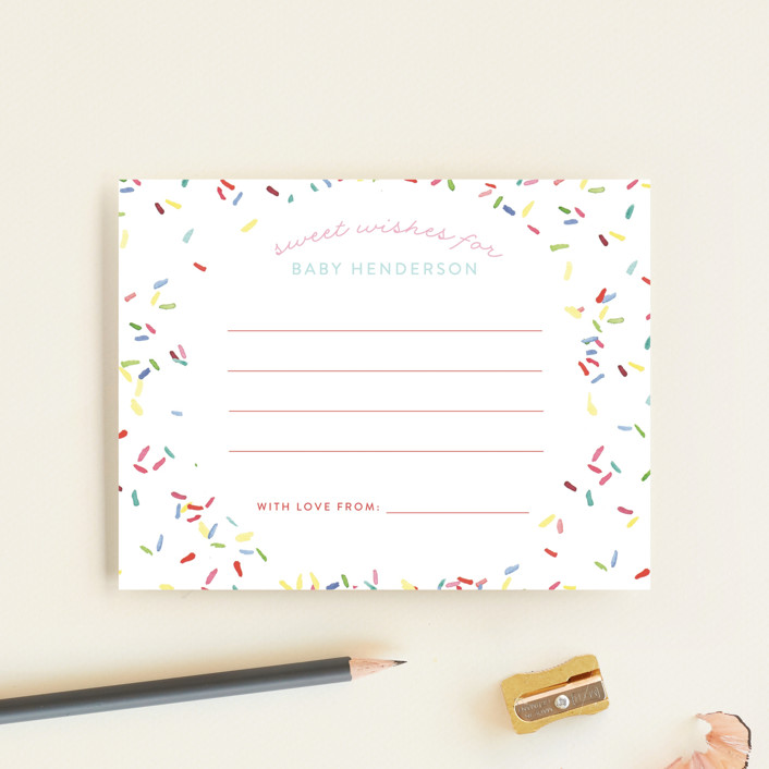 """Sprinkle Me One"" - Whimsical & Funny Baby Shower Insert Cards in Bubblegum by Lagniappe Paper."