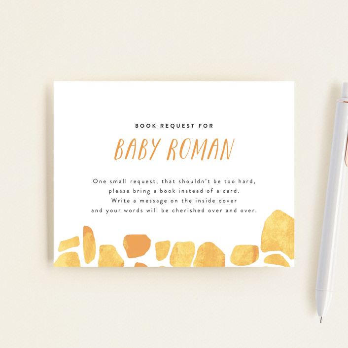 """""""Baby Animal Giraffe"""" - Whimsical & Funny Baby Shower Insert Cards in Marigold by Cass Loh."""