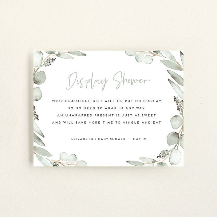 """Eucalypta"" - Baby Shower Insert Cards in Lilypad by Petra Kern."