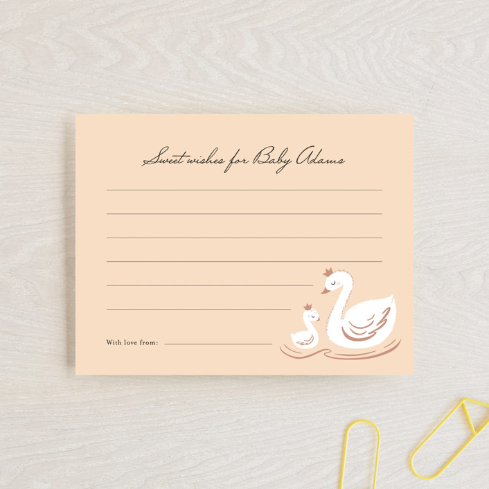 """""""swan lake"""" - Whimsical & Funny Baby Shower Insert Cards in Peach by Marina Onoprienko."""