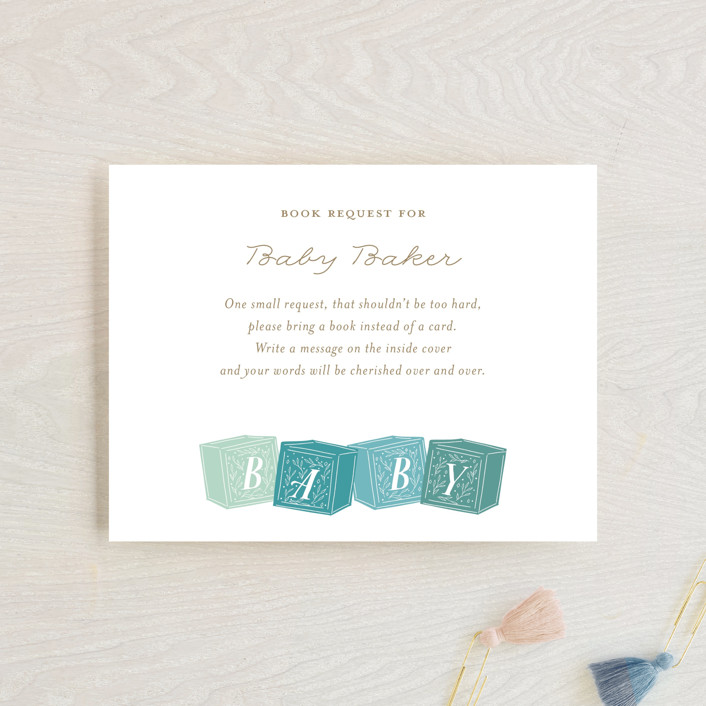 """""""Stacked Blocks"""" - Whimsical & Funny Baby Shower Insert Cards in Seafoam by Jackie Crawford."""