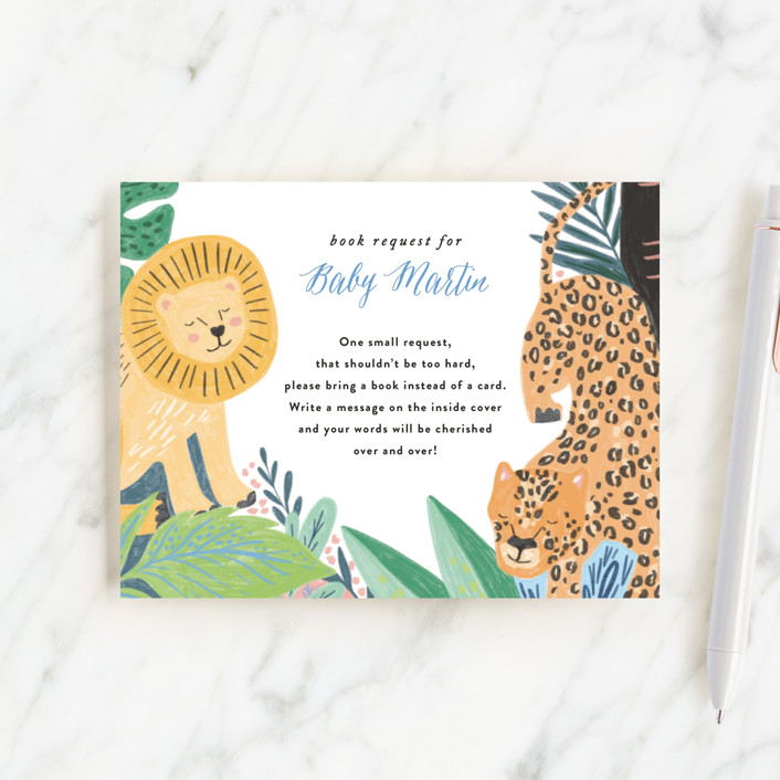 """Jungle Animal Sketchbook"" - Whimsical & Funny Baby Shower Insert Cards in Canary by Alethea and Ruth."