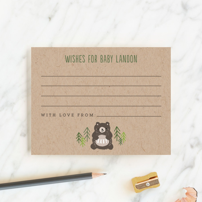"""Mama Bear"" - Rustic Baby Shower Insert Cards in Evergreen by Itsy Belle Studio."