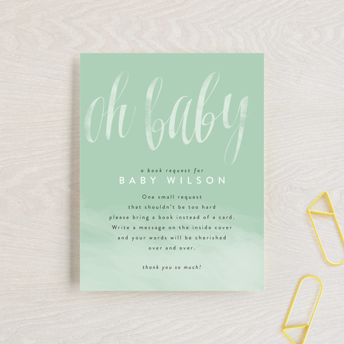 """scripted oh baby"" - Baby Shower Insert Cards in Mint by Kasia Labocki."
