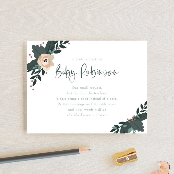 """Boho Wreath"" - Baby Shower Insert Cards in Fern by Hudson Meet Rose."