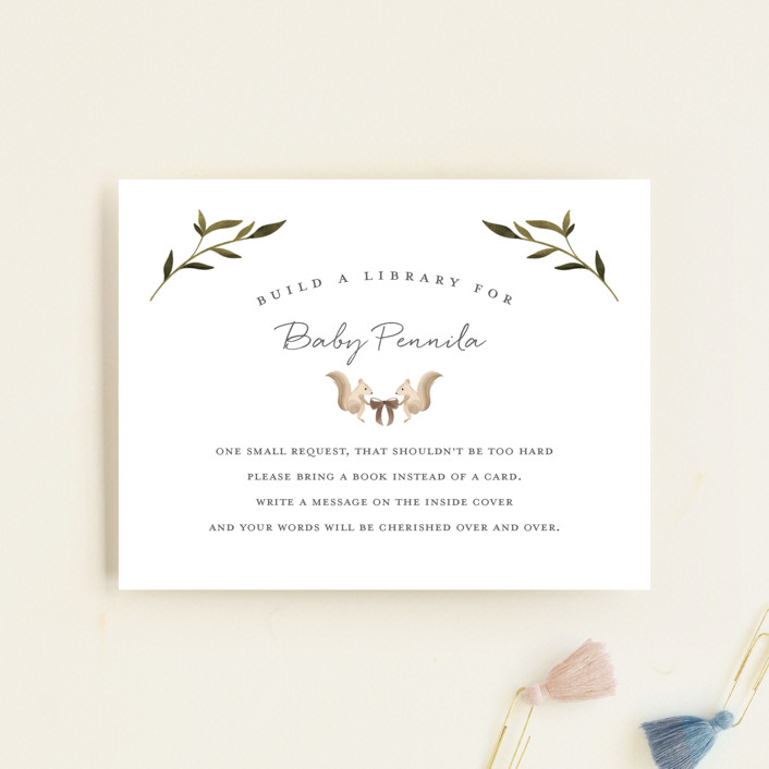 """""""Woodland Baby"""" - Whimsical & Funny Baby Shower Insert Cards in Neutral by Vivian Yiwing."""