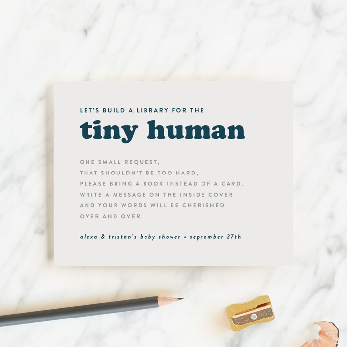 """""""Tiny Human"""" - Funny Baby Shower Insert Cards in Whale by Corinne Malesic."""