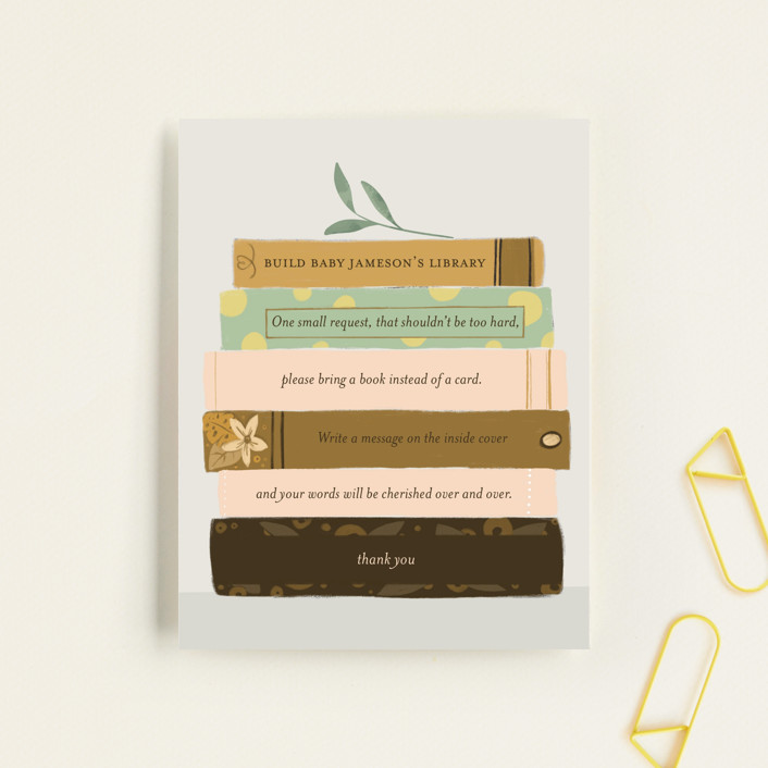 """""""Book Lovers"""" - Whimsical & Funny Baby Shower Insert Cards in Mustard by Lottie Made Co."""