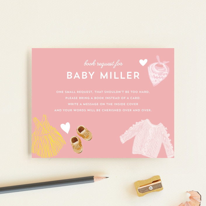 """""""Happy Heart"""" - Whimsical & Funny Baby Shower Insert Cards in Carnation by Baumbirdy."""