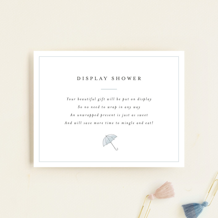 """""""Umbrellas"""" - Whimsical & Funny Baby Shower Insert Cards in Cornflower by Erin Deegan."""