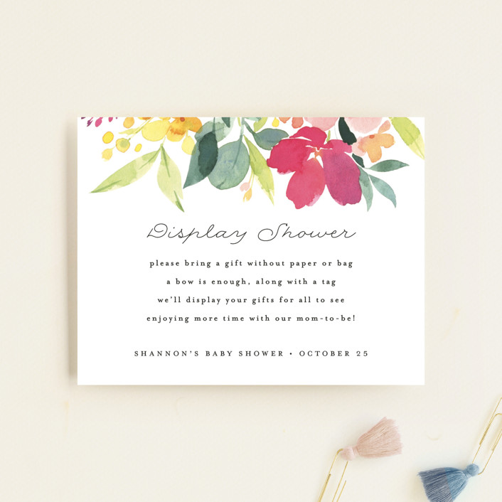 """""""Watercolor Blossoms"""" - Baby Shower Insert Cards in Spring Blossoms by Four Wet Feet Studio."""