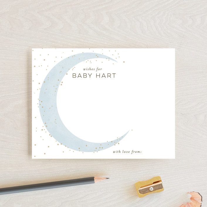 """Simple Moon"" - Whimsical & Funny Baby Shower Insert Cards in Mist by Everett Paper Goods."