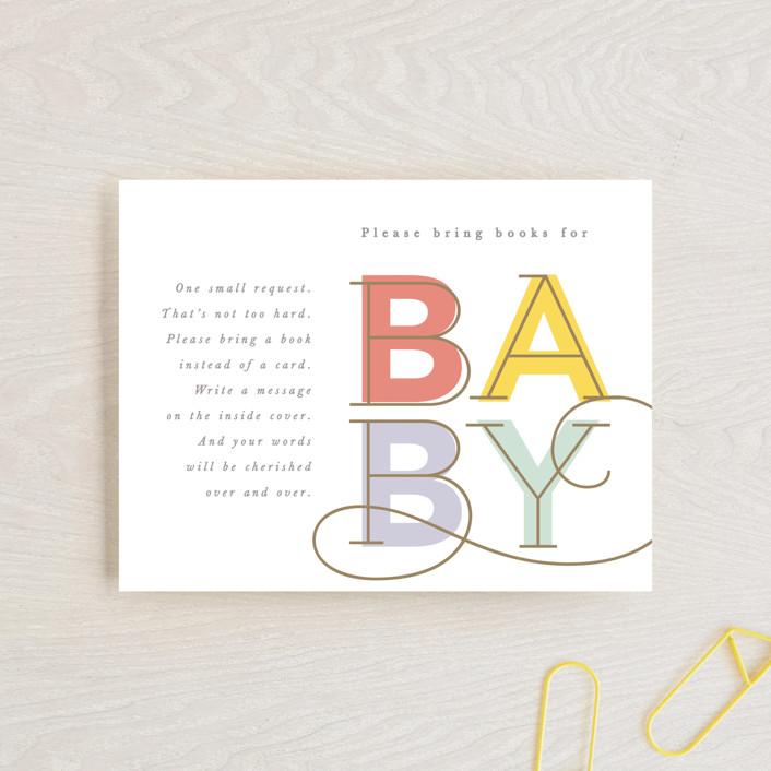 """Joyful swirls"" - Modern Baby Shower Insert Cards in Coral by Creo Study."