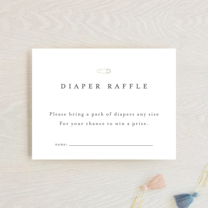 """""""Classic Diaper Raffle"""" - Baby Shower Insert Cards in Baby Powder by Minted."""
