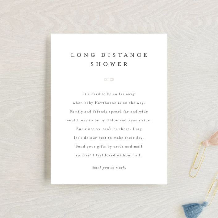 """""""Classic Long Distance Shower"""" - Baby Shower Insert Cards in Baby Powder by Minted."""