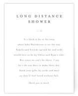 This is a white baby shower insert card by Minted called Classic Long Distance Shower with standard printing on signature in standard.