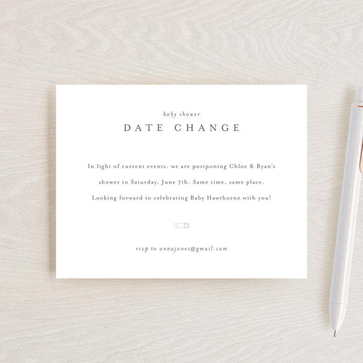 """""""Classic Date Change"""" - Baby Shower Insert Cards in Baby Powder by Minted."""