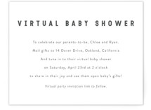 This is a white baby shower insert card by Minted called Modern Virtual Baby Shower with standard printing on signature in standard.