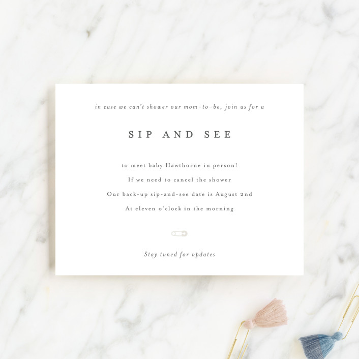 """Sip and See TBD"" - Baby Shower Insert Cards in Baby Powder by Minted."