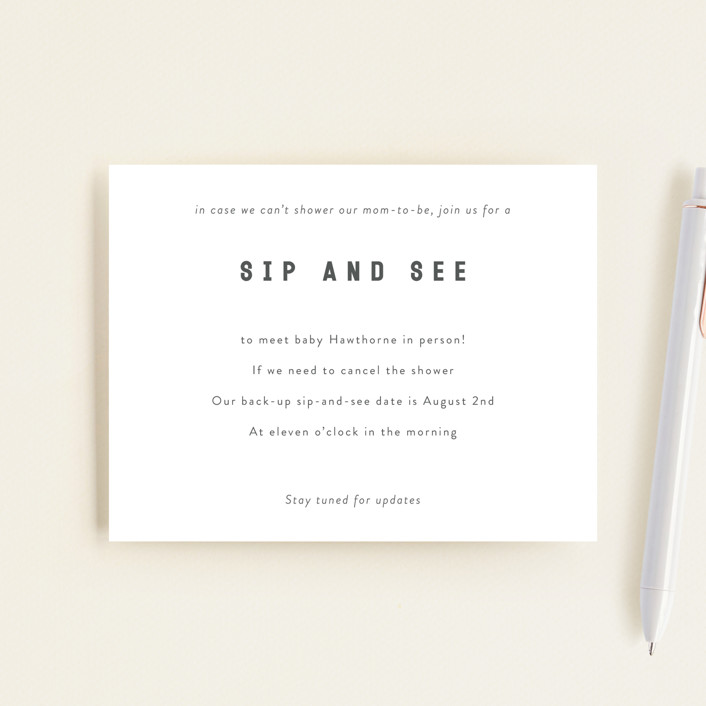 """""""Sip & See TBD 2"""" - Baby Shower Insert Cards in Baby Powder by Minted."""