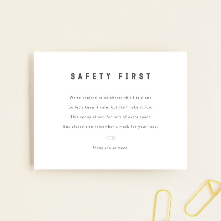 """""""Mask Note"""" - Baby Shower Insert Cards in Baby Powder by Minted."""