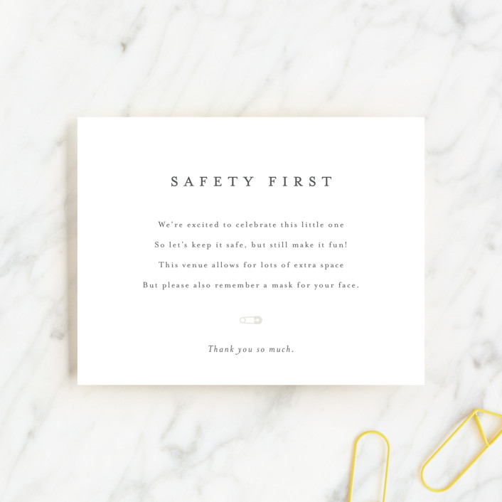 """""""Masks Note"""" - Baby Shower Insert Cards in Baby Powder by Minted."""